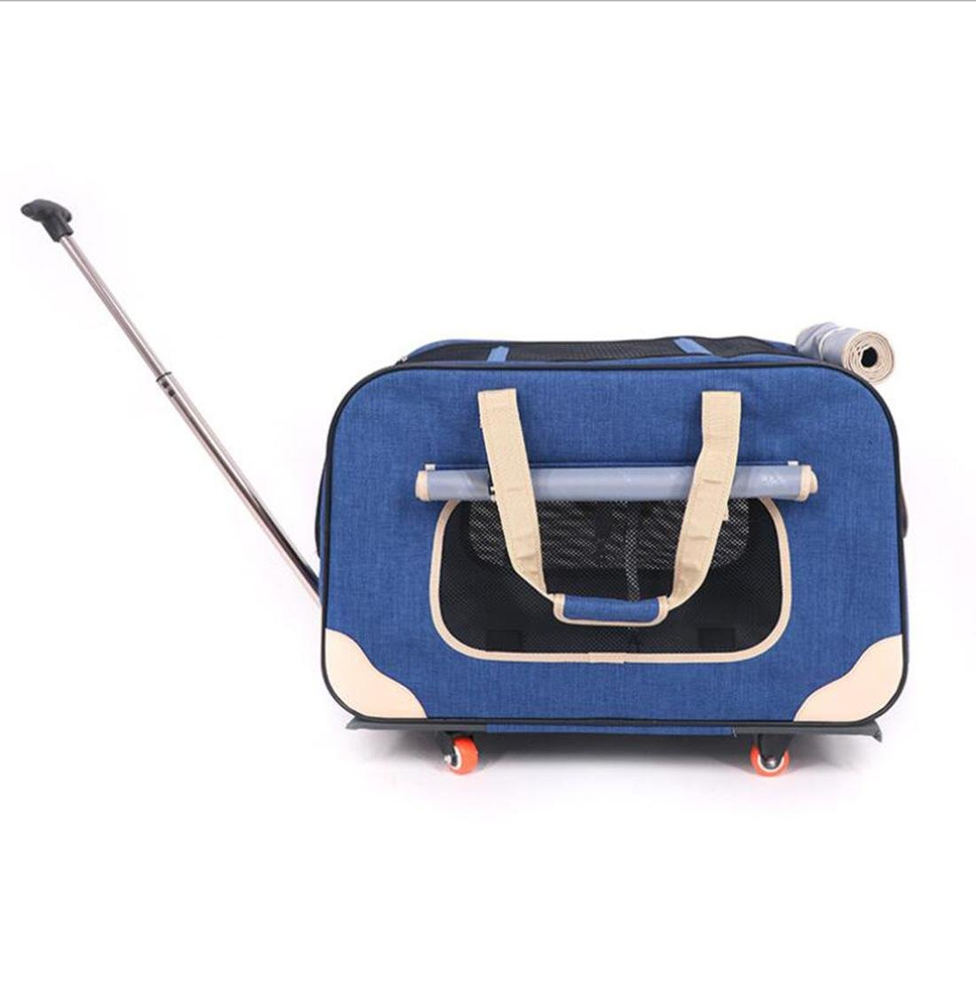 bluee CWBB Portable Pet Trolley Carrier dog Carrier with Wheels Pet backpack Removeable Travel Carrier Bag Folding, bluee