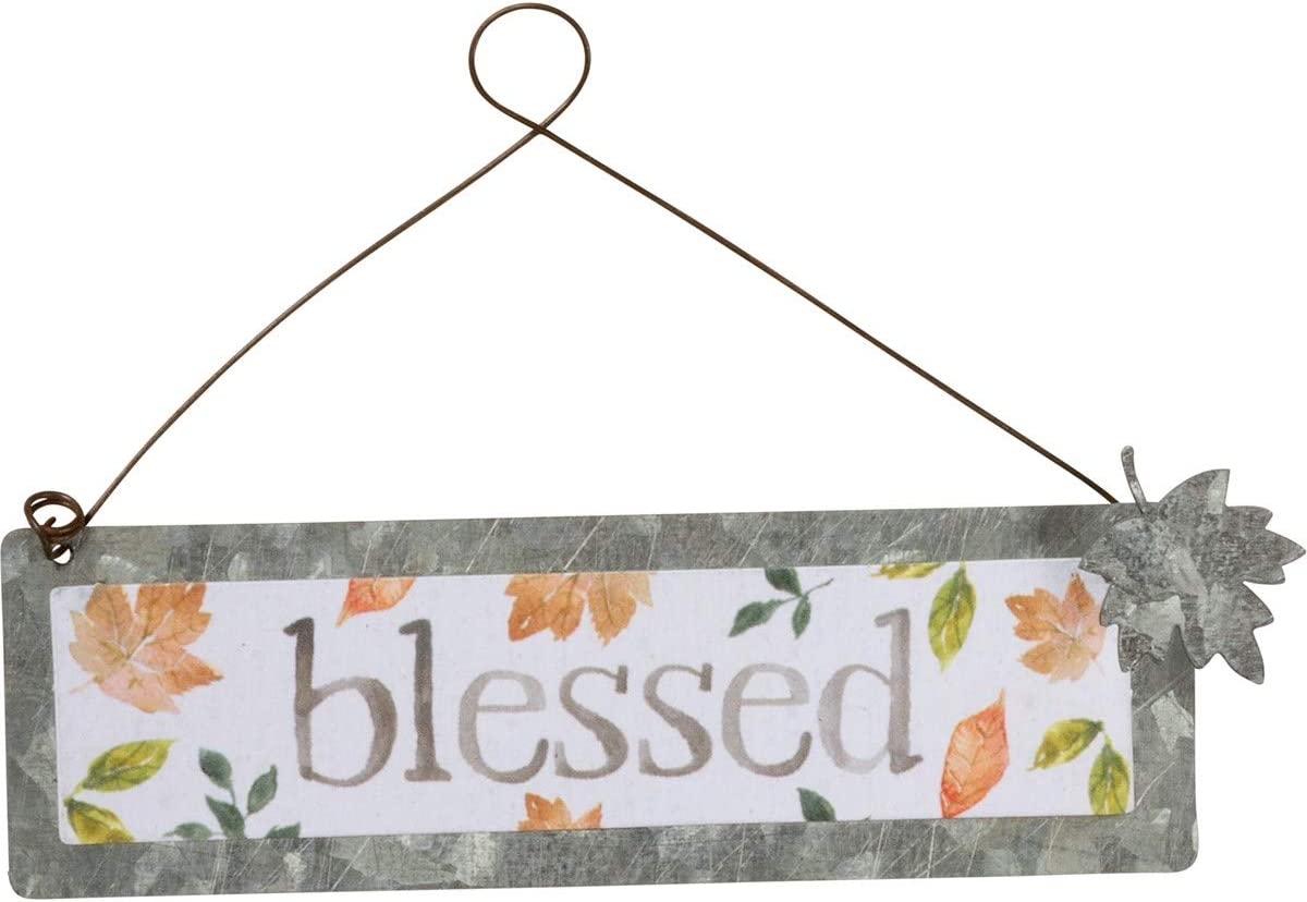 Primitives by Kathy PBK Fall Decor - Small Tin Ornament Sign Blessed