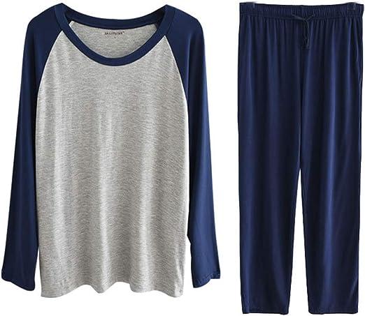 Pijama de Hombre Otoño Invierno Ropa de Dormir Talla Grande Modal Cuello Redondo Manga Larga Top y Pantalon Largo Conjuntos Dos Piezas L-4XL: Amazon.es: Ropa y accesorios
