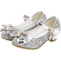 Fenical Zapatos de Princesa Mary Jane niños niñas Zapatos de Fiesta de Bodas Brillantes Lentejuelas de tacón bajo Zapatos de Baile 1 par