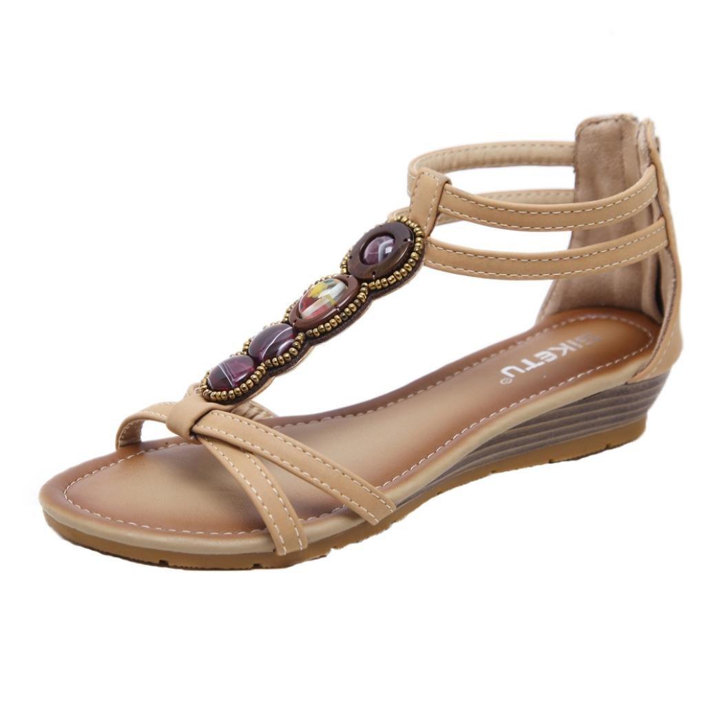LUCKYCAT 19854 Prime Day Amazon, Sandales Été 2018 d été Femme Chaussures de Été Sandales à Talons Chaussures Plates Bohême Pantoufles Gem Chaussures de Plage Perlé 2018 Beige 21cbddc - robotanarchy.space