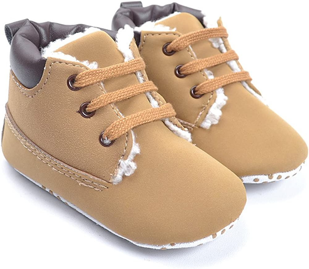 Kuner Baby Boy's Brown Warm Snow Short Boots First Walkers Shoes 0-18 Months