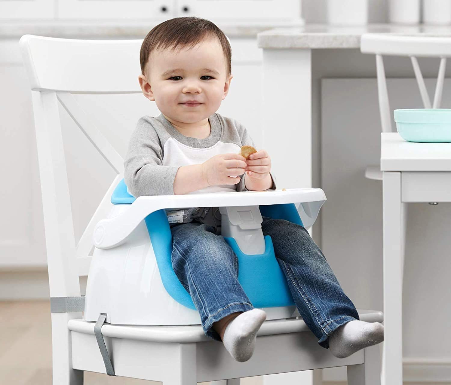 Blue Regalo Grow with Me Floor Seat and Activity Chair with Removable Feeding Tray