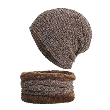 3833cf90919 MoGist Unisex Winter Hat Warm Knitted Hat Circle Scarf Set Outdoors Sports  Scarf Beanie Skull Cap for Winter (Khaki)  Amazon.co.uk  Kitchen   Home