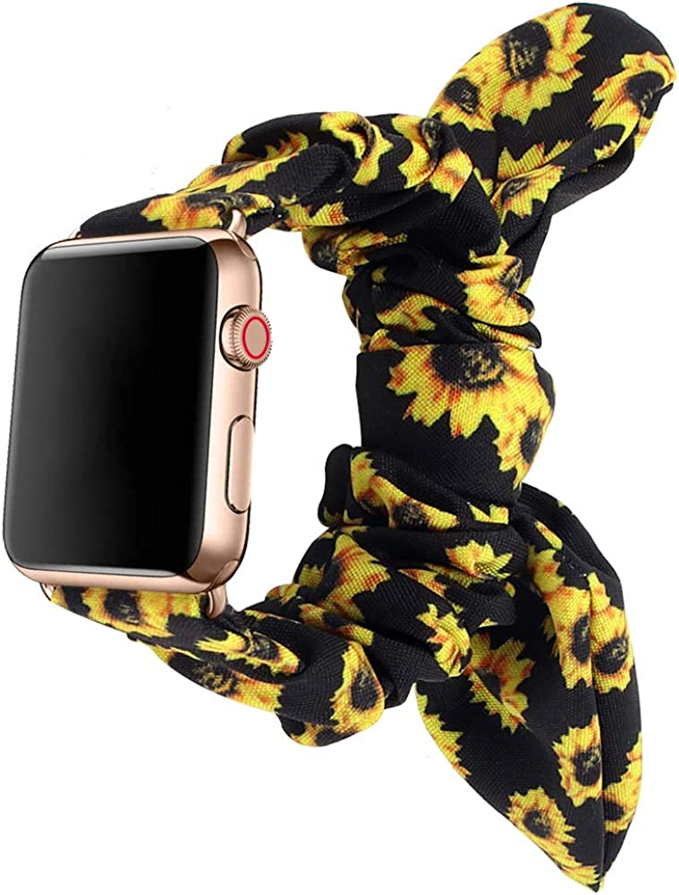 Compatible with Apple Watch Band Scrunchies 38mm/40mm 42mm/44mm with Butterfly Bow, Elastic Watch Band Replacement for Women Girls Apple Watch Series 5 4 3 2 1