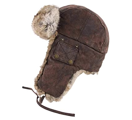 Stetson - Trapper Hat Leather Men Bomber Cap Pigskin Rabbit - Size S - cuir 3d9cb2056ae