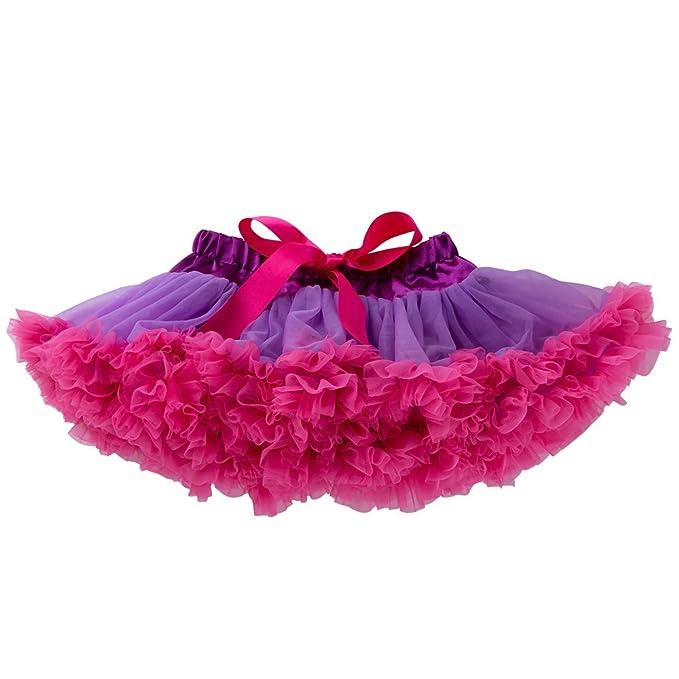 a4105d3654 Liyukee - Sólido Bebé Tutú Faldas Niñas Vestido Burbuja Princesa Mullida  Suave Gasa Ballet Fiesta de