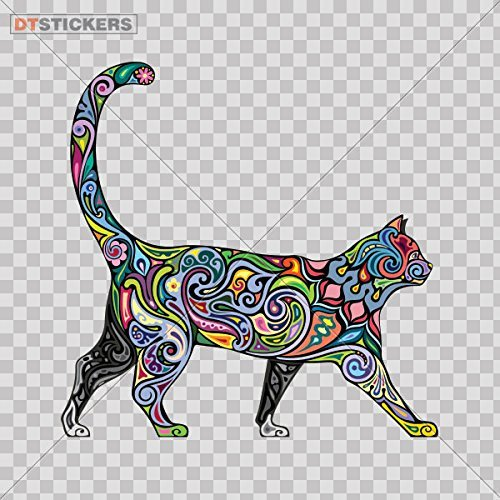 Vinyl Sticker Decal Domestic Floral Cat Atv Car Garage bike feline colorful fashion young (3 X 2,98 Inches) Fully Waterproof Printed vinyl sticker ()