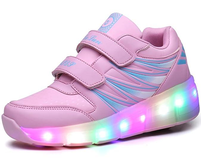 Unisex Kinder LED Roller Schuhe Skate Trainer Boy Girl Blinkende Rollschuh Schuhe Einstellbare Rollerblades dG73KFZ1