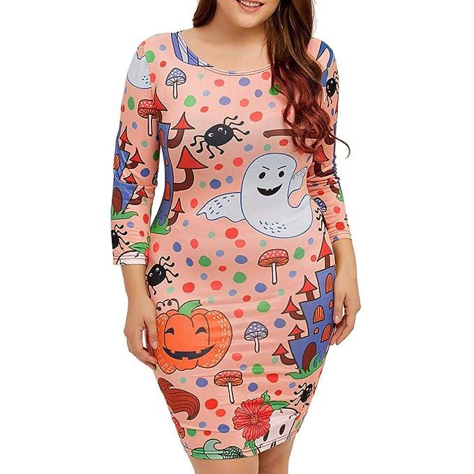 Lenfesh_Vestidos de Mujer Dibujos Animados Impresos Vestidos de Halloween Vestidos Manga Larga Cuello Redondo Otoño Mujer: Amazon.es: Ropa y accesorios