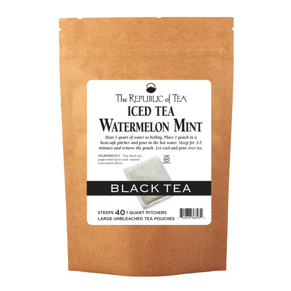 The Republic of Tea Watermelon Mint Black Iced Tea, 40 Large Pouches / 40 Quarts, Premium Fine Black Tea