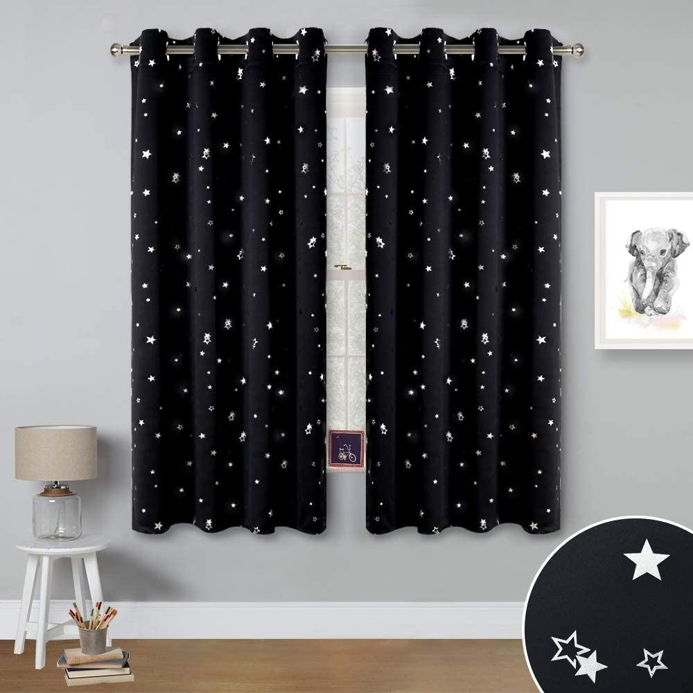Enhancing Thermal Insulated Blackout Window Curtains//Drapes with Ring Top Set of 2 Panels, W52 x L63, Baby Pink NICETOWN Star Blackout Curtains for Girls Bedroom