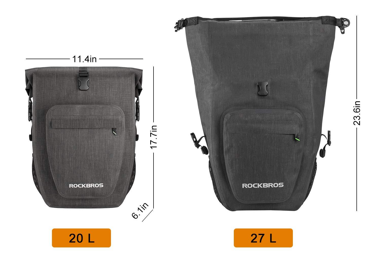 Bike Pannier Bag Waterproof Bicycle Rear Panniers for Laptop Commuter with Single Shoulder Strap 27L