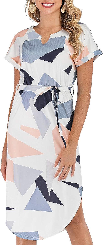 Damen Midi-Kleid, Sommer, V-Ausschnitt, Casual Büro, Business