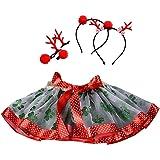 Logobeing Vestido de Fiesta Ropa Princesa Navidad Faldas de Ballet de TuTú Falda de Fiesta Elegante + Juego de Aro de Pelo