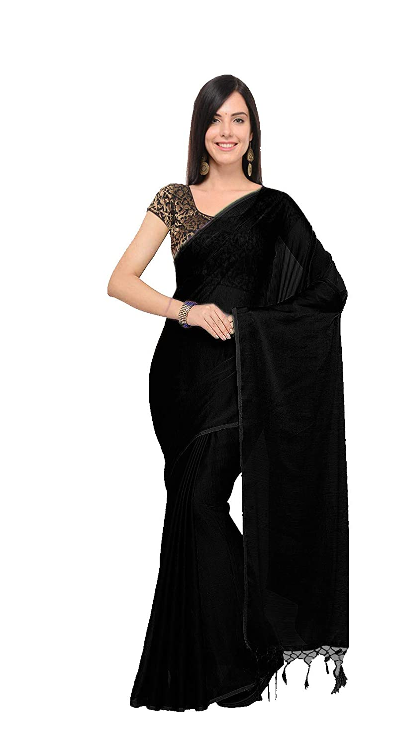 217d6468c Clickedia Women's Plain Solid Chanderi Silk Saree with 2 Jacquard Blouses  (Free Size, Black): Amazon.in: Clothing & Accessories