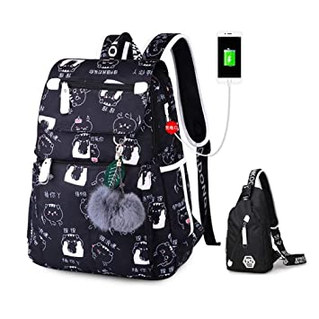 ebd246095aba Amazon.com: Teenage Backpacks School USB Cartoon Laptop School Bags ...