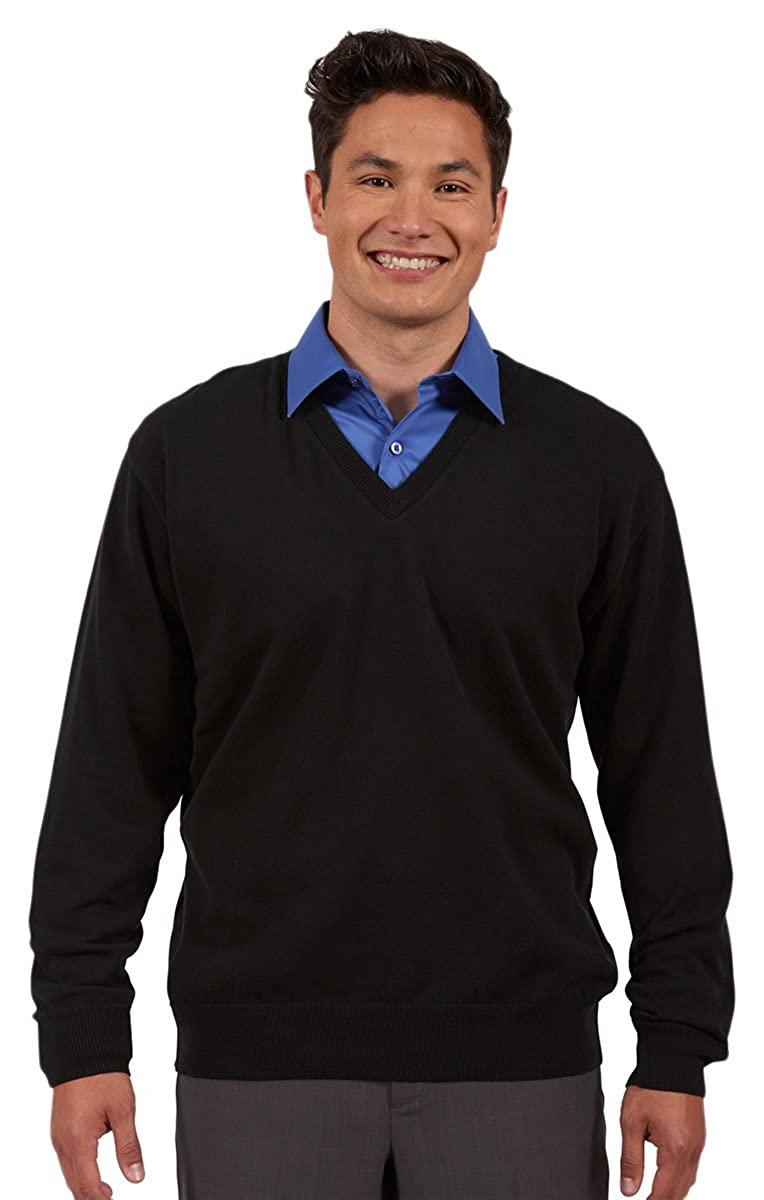 Black X-Small Edwards Garment MenS Fine Gauge Soft V Neck Cuff Cotton Sweater
