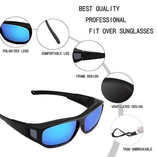 ac5e2d8d3bb Amazon.com  Oversized Lens Cover Sunglasses Mirrored - Warp Around Polarized  Lens for Men Women  Clothing