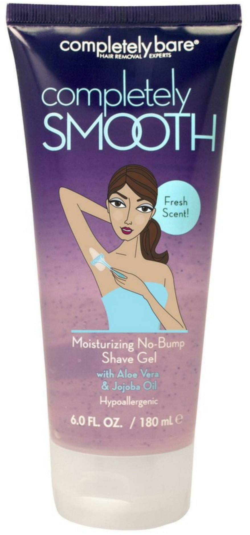 Completely Bare completely SMOOTH Moisturizing No-Bump Shave Gel with Aloe Vera & Jojoba Oil, Fresh Scent - Chamomile Extract, Hypoallergenic Formula 6.0 oz