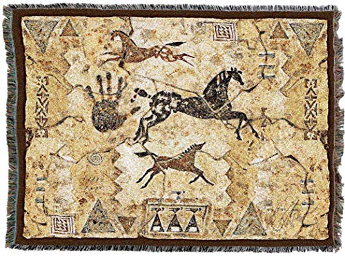 (Pure Country Weavers | Tlaloc's Tribe Petroglyph Southwest Blanket | Woven Throw with Fringe Cotton USA)