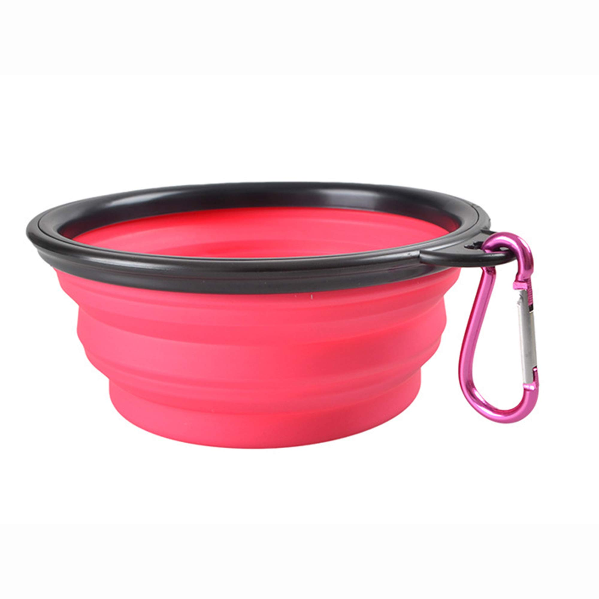 NOMSOCR Collapsible Portable Dog Bowl, BPA Free Foldable Expandable Cup Dish Pet Raised Dog/Cat Food Water Feeding Portable Raised Tralve Camping Bowl (Pink, Diameter:5inch Height:3.5inch)