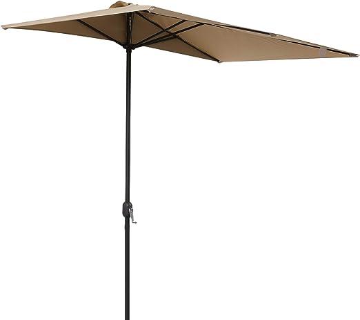 Outsunny Sombrilla de Media Pantalla de Jardín Parasol de Patio Terraza Rectangular con Manivela 230x130x245cm: Amazon.es: Jardín
