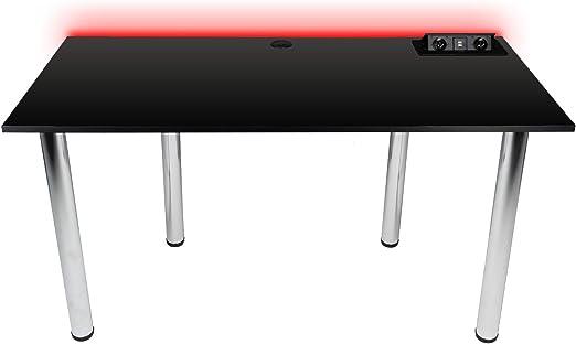 Victory Gaming Essentials - Mesa de Juegos con luz LED RGB para Juegos, Tablero de PC para Jugadores, casa y en la Oficina, construcción Robusta y Estable, Carga Mediante USB y enchufes: