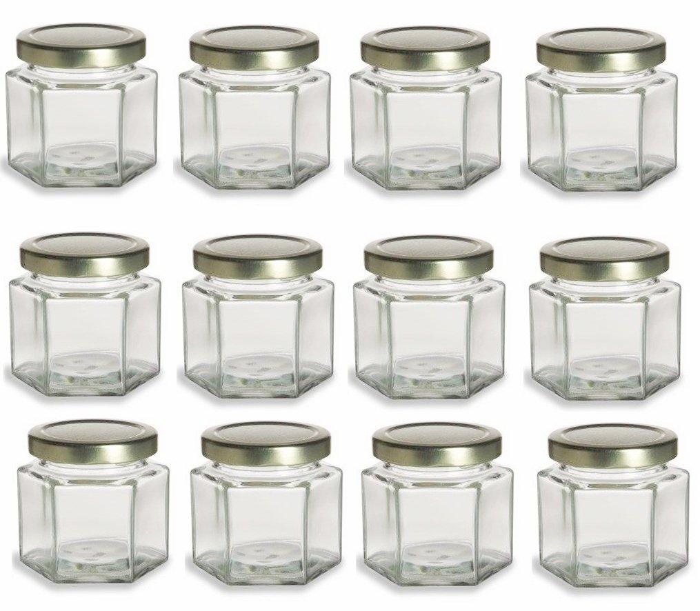 Amazon.com: Nakpunar 12 pcs, 4 oz Hexagon Glass Jars for Jam, Honey ...