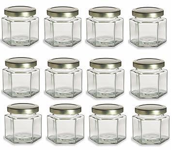 Nakpunar 12 Pcs 4 Oz Hexagon Glass Jars For Jam Honey Wedding Favors