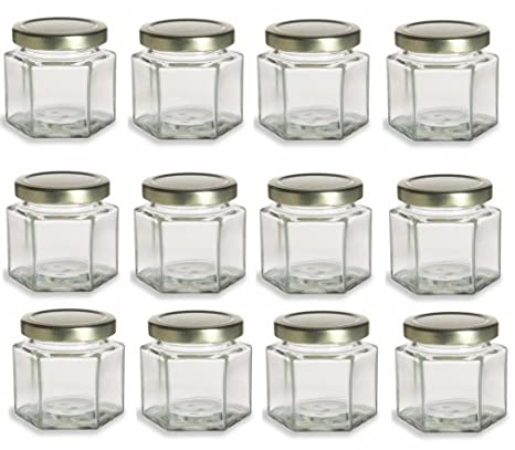 Amazon Nakpunar 12 Pcs 4 Oz Hexagon Glass Jars For Jam Honey