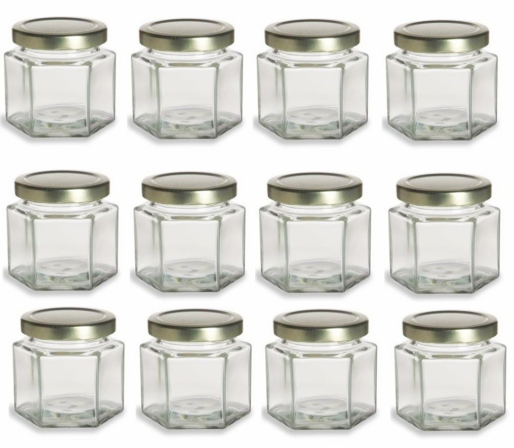 Nakpunar 12 Pcs 4 Oz Hexagon Glass Jars For Jam Honey Wedding