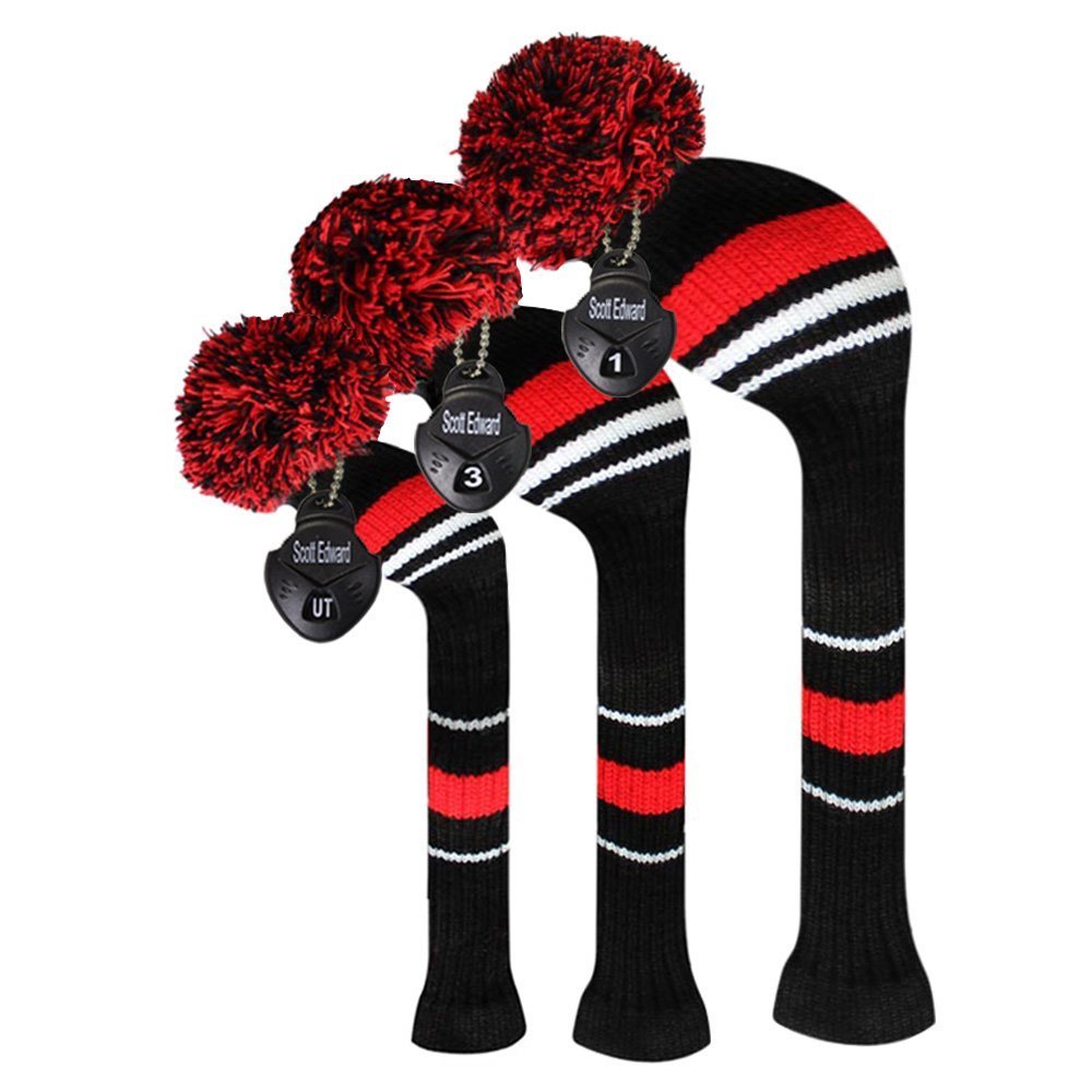 Scott Edward Black Red White Warning Color Style Golf Club Covers Set of 3 for Wood Clubs, Rotating Number Tags