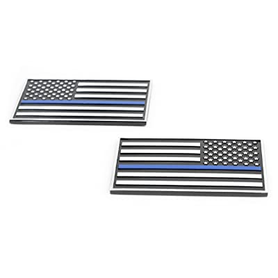 USA American 3D Metal Flag x2 emblem for Cars Trucks (Black & Chrome with Thin Blue Line): Automotive