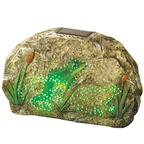 Solar-Powered Animated Frog Garden Rock (Butterfly Rock)