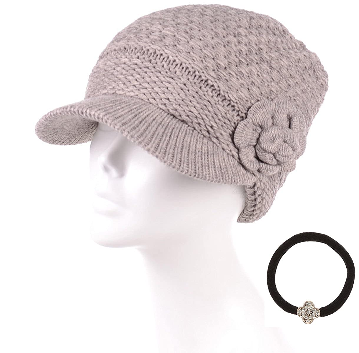 5ac44ec0f7cbb MIRMARU Women s Winter Cable Knitted Beret Visor Beanie Hat with ...