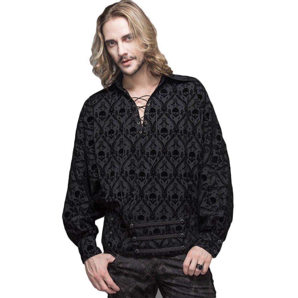 Men's Steampunk Clothing, Costumes, Fashion Devil Fashion Gothic Mens Printed Bandage Shirt Victorian Retro Button-Down Dress Shirt  AT vintagedancer.com