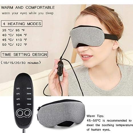 Máscara de Ojos Caliente, Big Fun USB Recargable Control de Temperatura Ajustable Calefacció para Ojos Hinchados Secos, Aliviar Fatiga Visual, ...