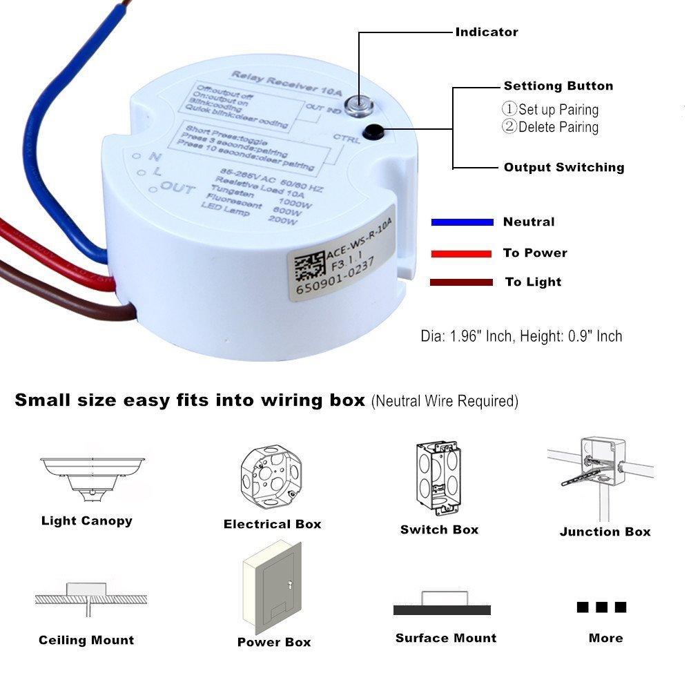 Acegoo Wireless Lights Switch Kit, No Wiring No Battery, Quick ...