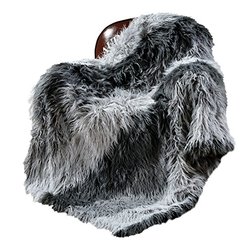 """Decosy Ultra Soft Luxurious Faux Fur Throw Blanket - Long Pile Yarn Acrylic Sofa TV Blanket - Shaggy Mongolia Couch Blanket - Micro Mink Reversible Chair Blanket Light to Dark Grey Striped 50""""x60"""" (Pile Fur Faux)"""