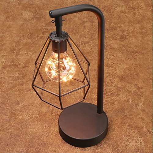 Table Desk Accent Lamp – 12″ H Metal Vintage Cage Led Light