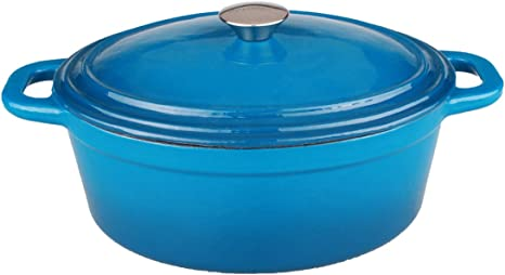 Berghoff Neo 8 Qt Oval Cast Iron Covered Casserole Blue Kitchen Dining