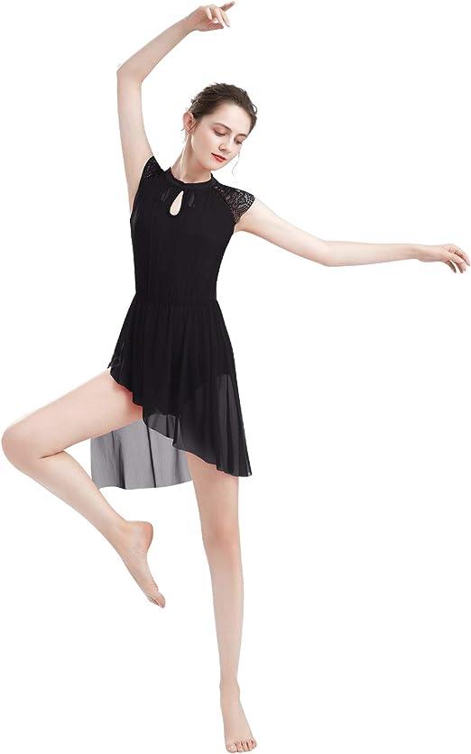 ODASDO Women Elegant Lyrical Dance Dress Lace Cap Sleeve Asymmetrical Tulle Skirt Leotard Contemporary Costume XS-XL