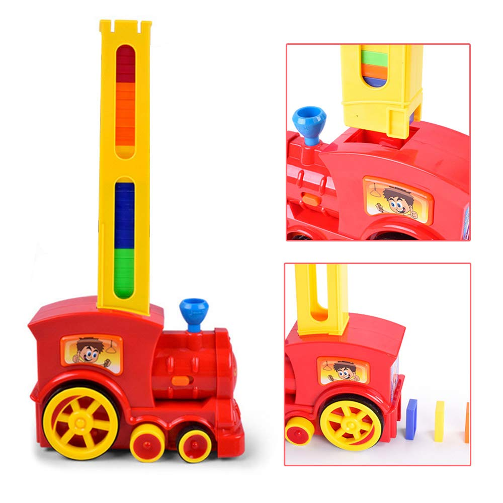 Domino Domino Train Car Model Toys Sound Light Automatic Sets Up Domino Building Blocks Game Toys Gift Automatic Electric Vehicle Building & Construction Toys