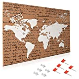 Navaris Cork Board World Map Script - 60 x 40 cm Push Pin Memo Notice Corkboard with 10x Push Pins for Wall, Kitchen, Classroom, Home Office, Bedroom