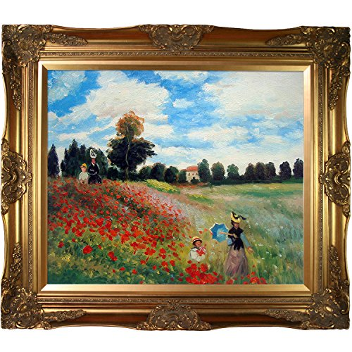 Framed 24 Painting Oil Reproduction (Hand-Painted Reproduction of Claude Monet Poppy Field in Argenteuil Framed Oil Painting, 20 x 24)