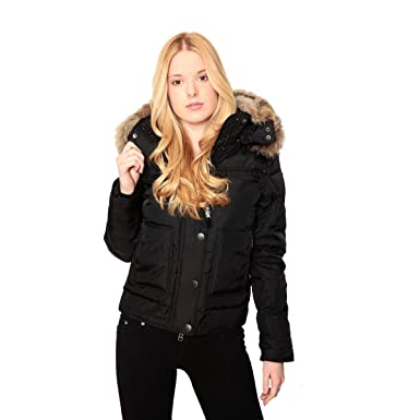 Amazon.com: Pajar Women's SASHA Rabbit fur Down Bomber jacket ...