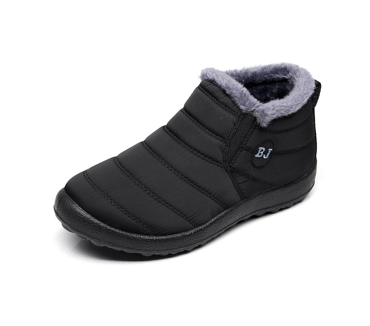 Chaussures pour Bottes de Neige avec 19020 B01M3MWNTP Chaud Doublure Cheville Hiver Boots Imperméable avec Epais Fourrure Bottine pour Hommes Femme Noir 2 3f9179d - conorscully.space