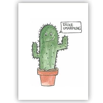 Postkarte Kaktus   Dicke Umarmung   Humor lustige Karte für