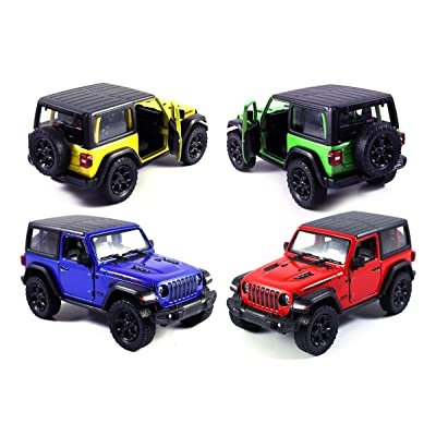 Set of 4 Jeep Wrangler Rubicon 4x4 Hard Top Off Road Exploration Diecast Model Toy Cars (Red/Yellow/Greed/Blue): Toys & Games